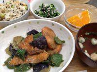 290522⑳鮭と茄子の甘味噌炒め・ひじきご飯